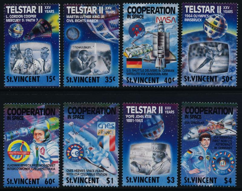 St Vincent 1163-70 MNH Space Shuttle, Satellite, Sports, Pope John XXIII