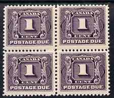 Canada 1906-28 Postage Due 1c red-violet block of 4 super...