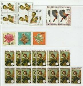 Flowers Plants Music Musicians Birds Rwanda Africa MNH** Stamps 13972