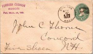 Forbush Shoe Grafton MA > Concord NH 1899 postal stationery  cover