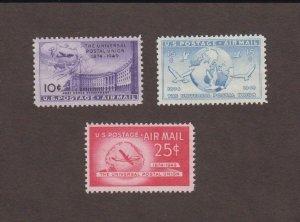 US,C42,C43,C44,MNH VF,1940'S, AIRMAIL,MINT NH