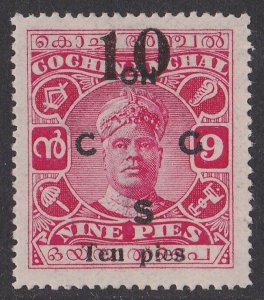 Cochin India : 1925 ON CGS 10p/9p MNH ** .