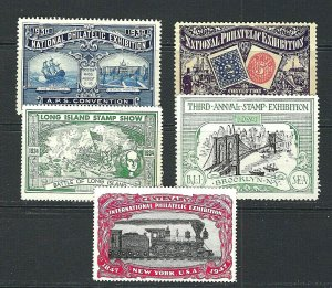 JASTAMPS: US Vintage Mixed Lot of 5 Philatelic Shows Cinderella Stamps FREE SHIP