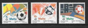 MALTA SG876/8 1990 FOOTBALL WORLD CUP MNH