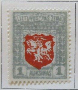 A11P4F8 Litauen Lituanie Lithuania 1919 Wmk Wavy Lines 1auk White Paper MH*