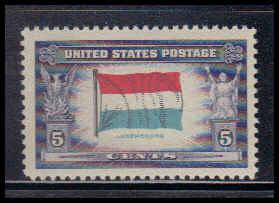 912 5c Flag of Luxembourg Fine MNH W3810