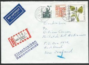 GERMANY 1989 Registered airmail cover to New Zealand - nice franking.......11235