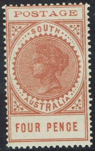 SOUTH AUSTRALIA 1902 QV THIN POSTAGE 4D