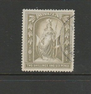 Malta 1899/1901 2/6 Crown CC FU SG 34
