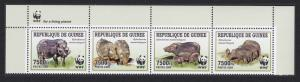 Guinea WWF Giant Forest Hog 4v Top Strip with WWF Logo MI#6714-6717