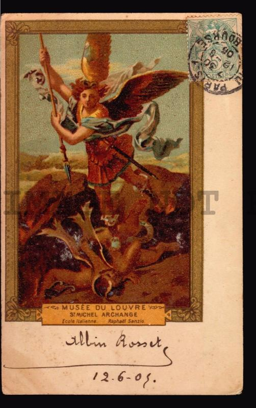 1906 original postcard FRANCE St michel Angel MAXIMUM CARD MAXI lithography