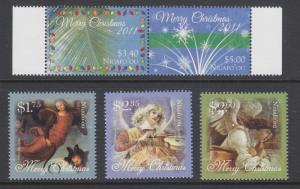 Tonga, Niuafo'ou Sc 268, 315-317 MNH. 2011 and 2013 Christmas issues, 2 cplt set