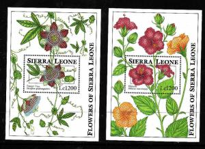 Sierra Leone-Sc#1670-71-two unused NH sheets-Flowers-1993-