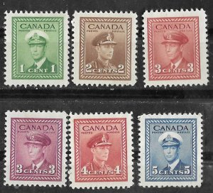 Canada #  249//255  George VI  Wartime Definitives (6)  Unused VLH