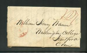 UNITED STATES 1834 NEW YORK  STAMPLESS  COVER TO HARTFORD CT