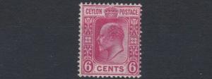 CEYLON  1908          S G  291    6C    CARMINE  MH