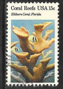 USA 1828: 15c Elkhorn Coral (Acropora palmata), Porkfish, used, VF