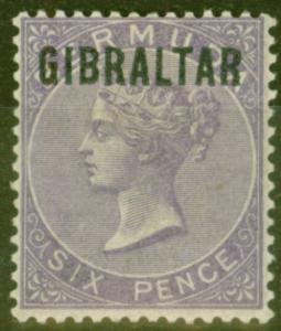 Gibraltar 1886 6d Dp Lilac SG6 V.F Very Lightly Mtd Mint