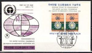 South Korea, Scott cat. 825a. Environment s/sheet. First day cover. ^