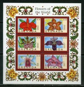 GRENADA   FLOWERS OF THE WORLD SHEET  II  MINT NH