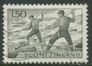 Finland - Scott 412 - Log Floating -1963- Used - Single 1.50m Stamp