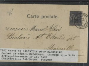TURKEY COVER (PP0605B)  1901 FRENCH OFFICES IN 10C ON PPC SALONIQUE TO FRANCE