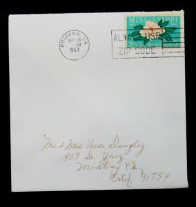 US Stamp Sc# 1337 Early Use on Small Cover (2 days after issue) Dec 13, 1967