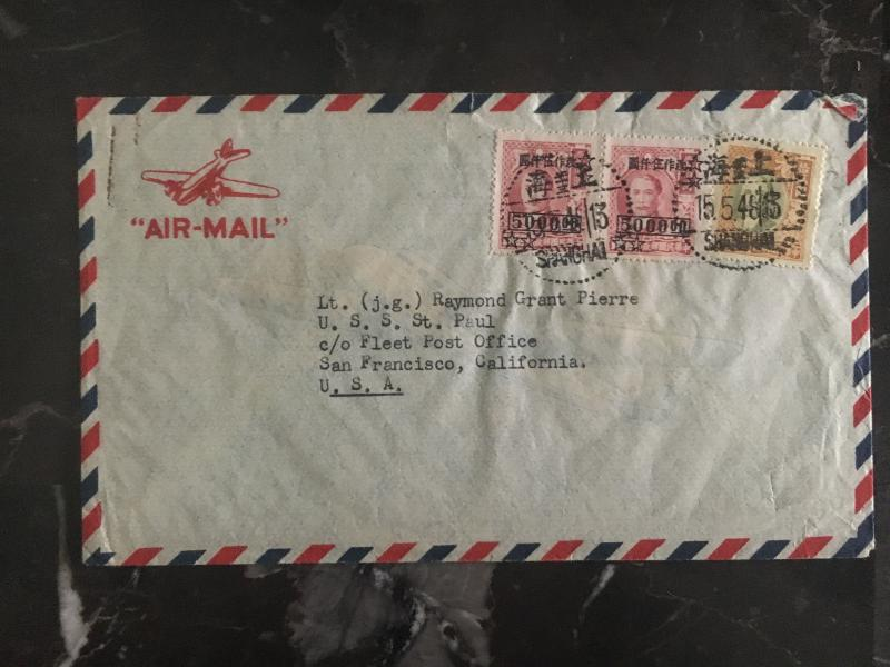 1948 Shanghai China  Airmail Cover to San Francisco USA USS St Paul