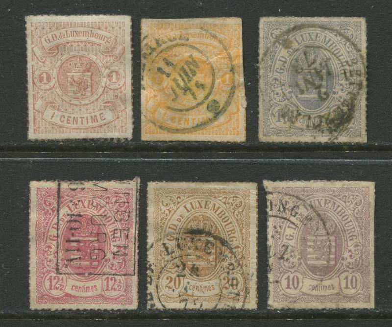 Luxembourg - Scott Various - Coat of Arms - 1865 - Rouletted - 6 Stamps