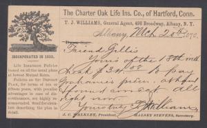 US Sc UX 3 1876 Advertising Postal Card for Charter Oak Life Insurance, Hartford