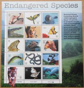 1996 sheet Endangered Species Sc# 3105