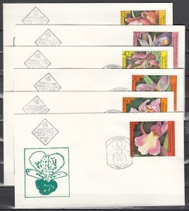 Bulgaria, Scott cat. 3140-3145. Orchids issue. 6 First day covers. ^