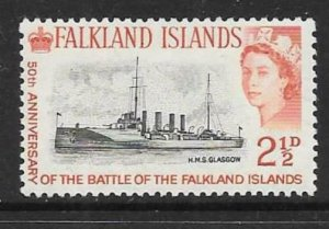 FALKLAND ISLANDS SG215 1964 2½d BATTLE OF THE FALKLANDS MNH