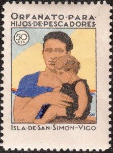 Stamp Label Spain Exposition Cinderella Isle San Simon Vigo Galicia Orphan MNH