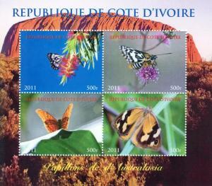 Ivory Coast 2011 Butterflies Australia  Shlt (4) Perf.MNH