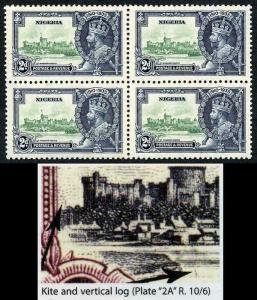 Nigeria SG31k 1935 Silver Jubilee with Kite and Vertical Log Block of 4 U/M