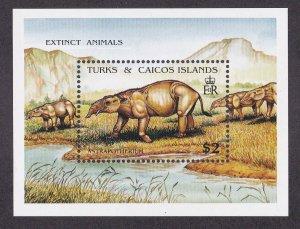 Turks & Caicos Islands # 912, Extinct Animals, Souvenir Sheet,  NH, 1/2 Cat.
