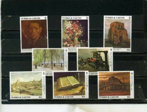 TURKS& CAICOS 1991 Sc#933-940 PAINTINGS BY VINCENT VAN GOGH SET OF 8 STAMPS MNH