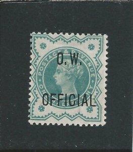 GB-QV OW OFFICIAL 1896 ½d BLUE-GREEN MM SG O32 CAT £475