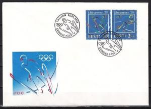 Estonia, Scott cat. 264-265. Lillehammer Winter Olympics issue. First day cover.