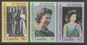 LESOTHO SG701/3 1986 60th BIRTHDAY OF QEII MNH