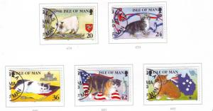 Isle of Man Sc 672-6 1996 Cats stamp set used