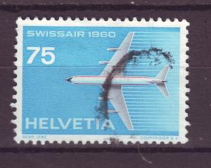 J17389 JLstamps 1960 switzerland hv of set used #381 airplane