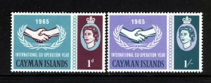 CAYMAN ISLANDS 1965 International Co-operation Year Set SG 186 & SG 187 MINT