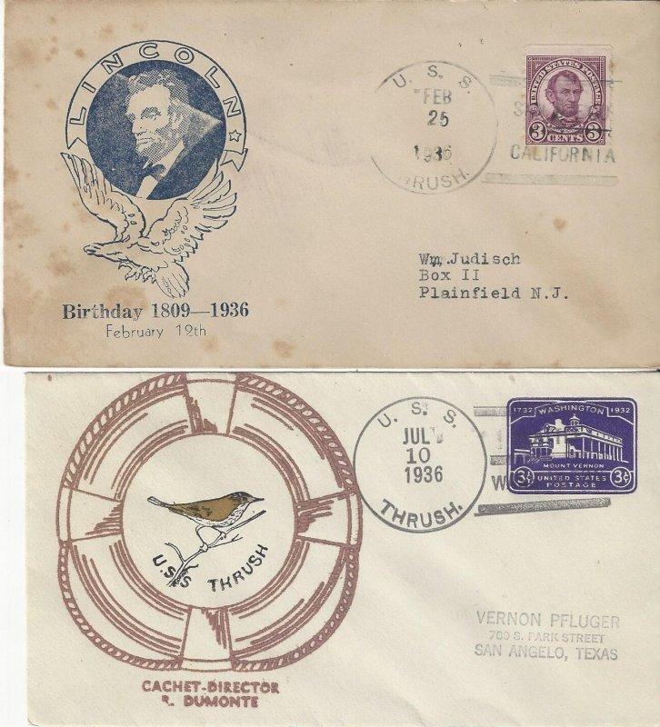 US Naval Cover USS Thrush  AM 18  1936 Lincoln Birthday, 1936 Dumonte Cachet