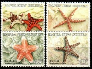 Papua New Guinea MNH 563-6 Starfish Sea Stars 1987