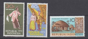 J29340, 1972 indonesia set mnh #831-3 designs
