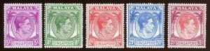 Singapore - Sc # 5,8,10,13,15.  Partial Set.  MNH. 2017 SCV $47.75