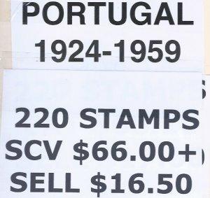 PORTUGAL 1924-1959 220 STAMPS SCV $66.00++