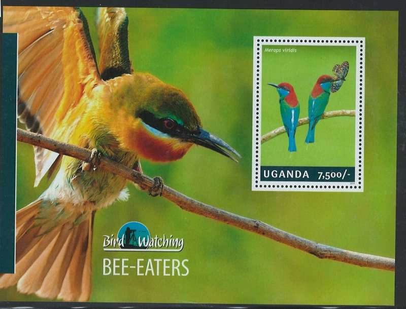 Uganda Scott 2130 MNH! Bee-Eaters! Souv. Sheet!